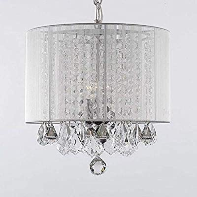"Crystal Chandelier Chandeliers With Large White Shade H15"" x W15"""