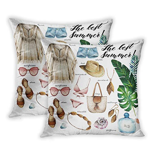 Lichtion Set of 2 Throw Pillow Covers Print Watercolor Summer Tunic Shorts Hat Swimsuit Sunglasses Bag Pendant Bracelet Shoes Perfume Decorative Soft Bedroom Sofa Pillowcase Cushion Couch 16 x 16 Inch