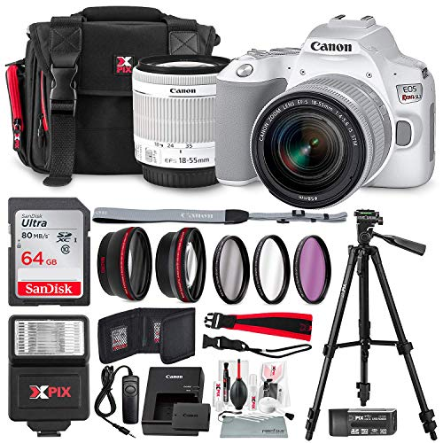 Canon EOS Rebel SL3 DSLR Camera (White) with 18-55mm Lens + Telephoto & Wideangle Lens + 64GB + Cases + Filters and Premium Accessory Bundle