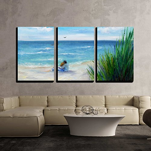 vas Wall Art - Original Oil Painting Showing Couple in Love Sitting on the Beach - Modern Home Decor Stretched and Framed Ready to Hang - 24