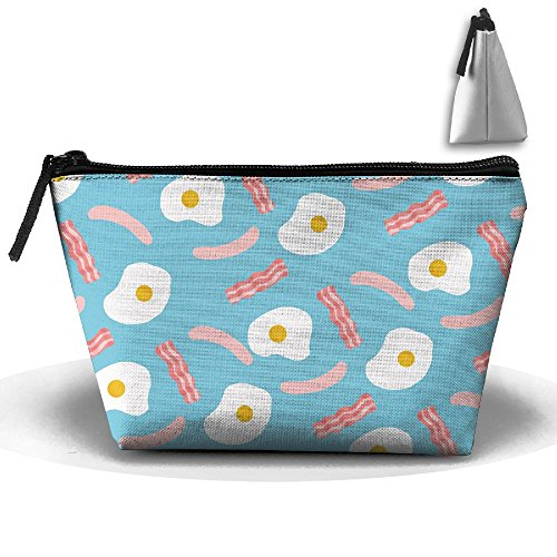 Trapezoidal Bag Makeup Bag Breakfast Time Storage Portable Travel Wash Tote Zipper Wallet Handbag Carry Case