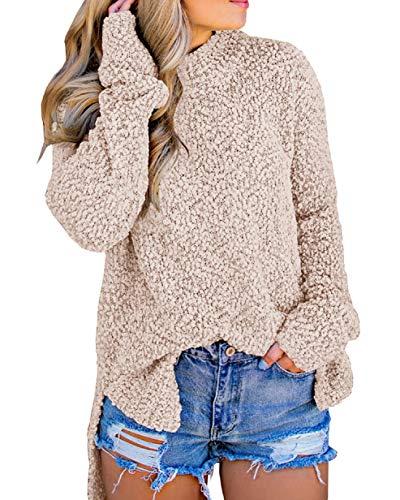 (Imily Bela Womens Fuzzy Knitted Sweater Sherpa Fleece Side Slit Full Sleeve Jumper Outwears Khaki)