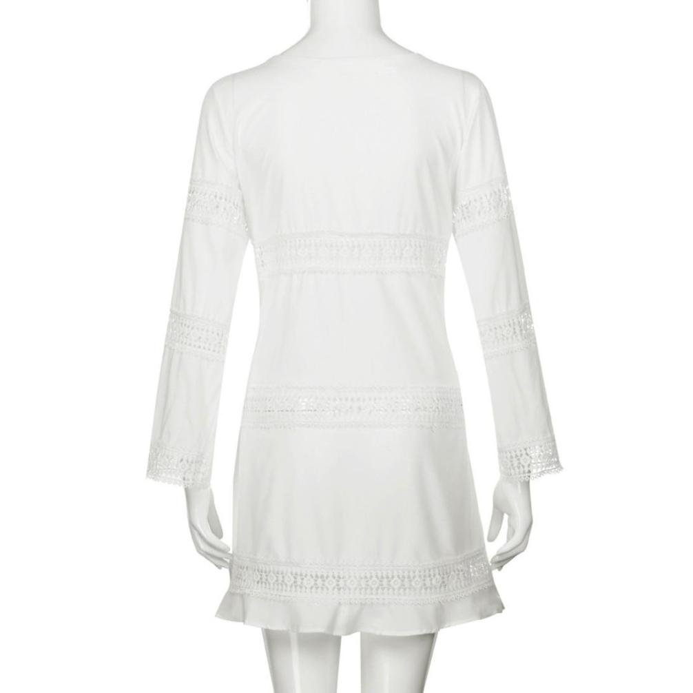 AIEason-women blouse Women Summer Three Quarter Sleeve Loose Lace Party Wedding Guest Women Boho Beach Short Mini Dress