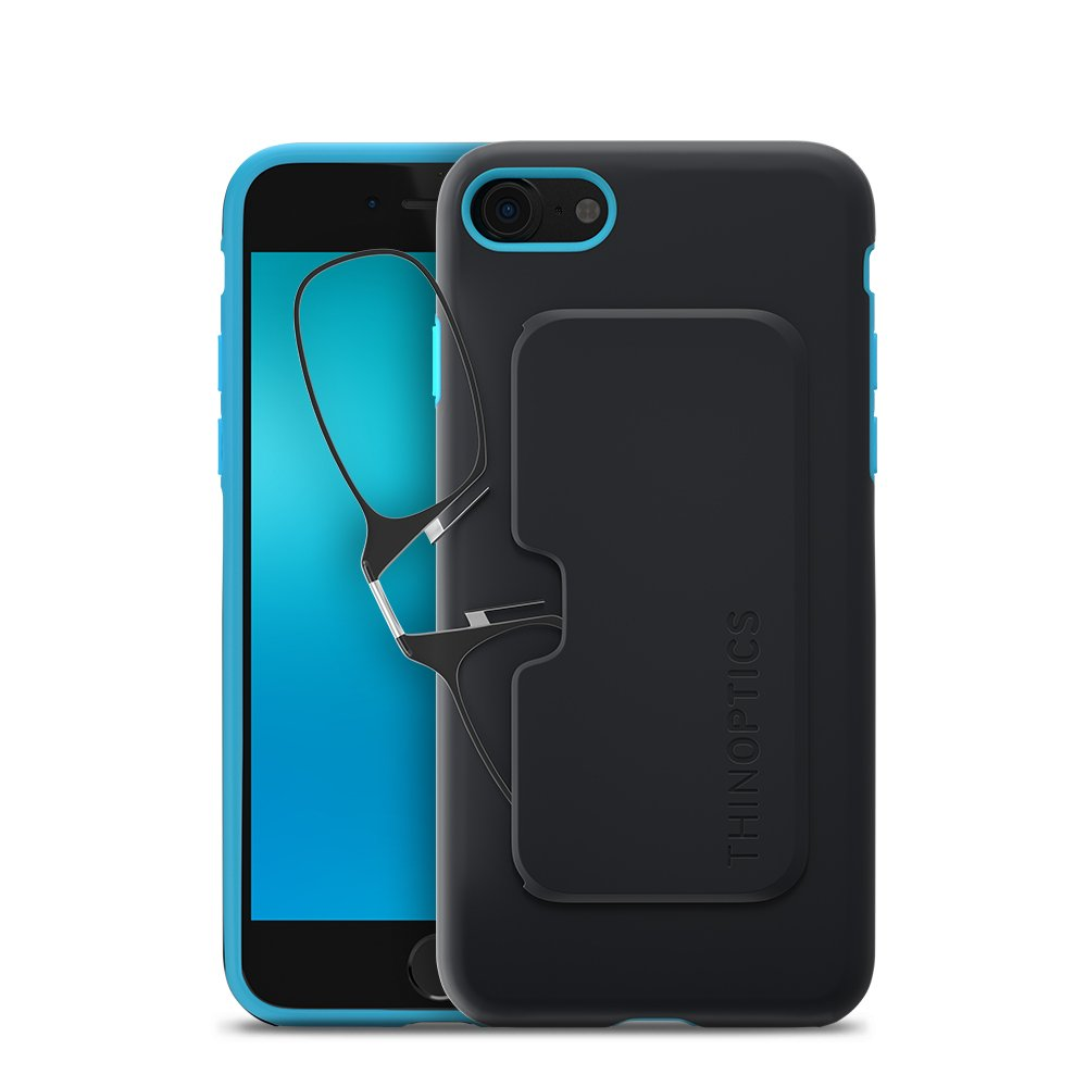 ThinOptics Reading Glasses + iPhone 8 or iPhone 7 Case | Black/Blue Fortify Case, 1.50 Strength