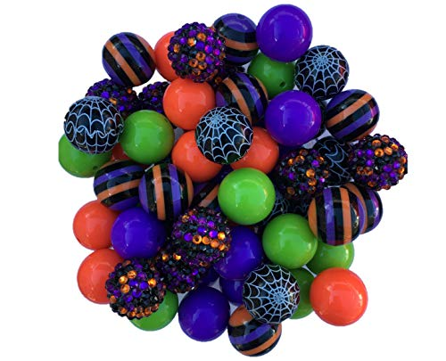 20mm Halloween 50 Count (Lime, Purple, Orange, Black) Spooky 50 Count Chunky Bubble Gum Acrylic Beads Bulk Wholesale Pack Necklace Kit