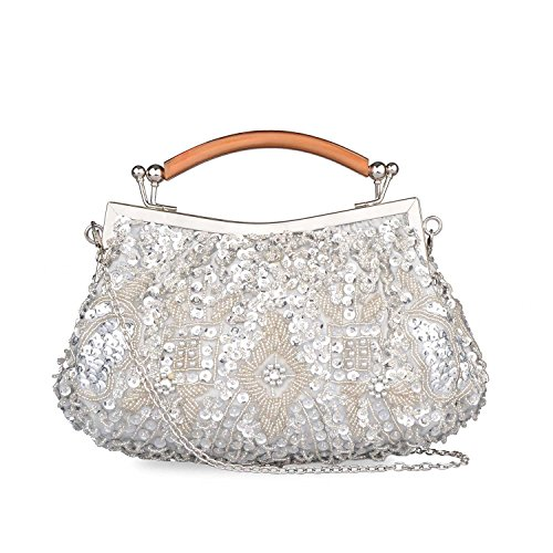 Sequined Handbag Floral - Kisschic Women's Vintage Style Beaded and Sequined Evening Bag Wedding Party Handbag Pearl Clutch Purse (Silver)