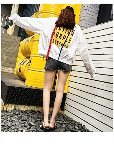 Primaverile Da Autunno Stampato Digitale Collo Moda Bomber Aviatore Rotondo Outerwear Eleganti Bianca Di Casual Donna Lunga Manica Cappotto Giacca Grazioso Stlie Sciolto XYw8qH0Uw