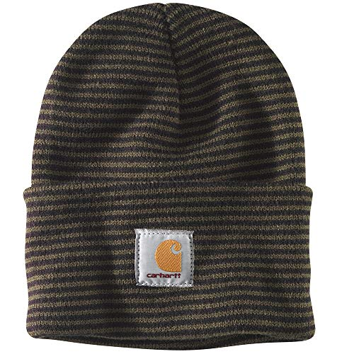 (Carhartt Men's Acrylic Watch Hat A18, Tarmac/Black Stripe, One Size)