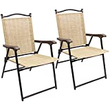 Devoko Patio Folding Deck Sling Back Chair Camping Garden Pool Beach Using Chairs Space Saving Set of 2 (Beige)