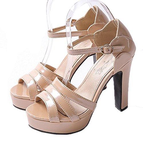 CoolCept Women High Heel Sandals Strappy Block Heels Platform Summer Shoes Ankle Strap Ivory JxwzOA