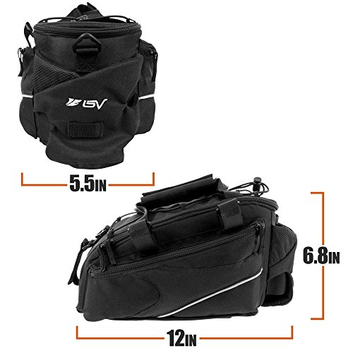 BV Bike Commuter Carrier Trunk Bag with Velcro Pump Attachment, Small Water Bottle Pocket & Shoulder Strap by BV (Image #5)