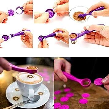 Azul Nueva Magic Spice Spoon Electric Coffee Cake Printing Cuchara Herramientas de decoraci/ón de Pasteles M/áquina de impresi/ón port/átil con 16 Patrones de fantas/ía