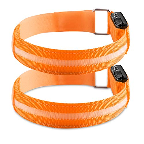 - kwmobile 2X LED Safety Bands - USB Rechargeable High Visibility Running Armbands with LED Lights for Cycling Hiking Jogging Biking Outdoor Sports