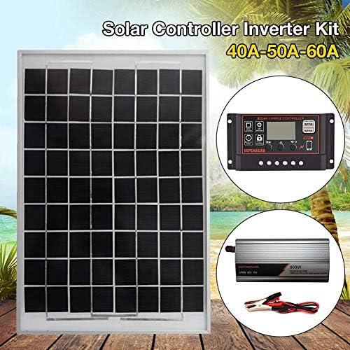 Lifesongs Sonnenkollektor 12v,Verbindung Umkehren Schutz LCD Controller AC230V 800W Solarstromanlage Solarpanel Solar Controller Wechselrichter-Kit 18V20W 12V to AC230
