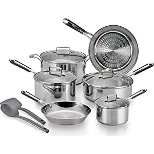 T-fal, ExpertPro Stainless Steel, Techno Release, Induction Compatible Cookware, 12 Pc. Set, Silver