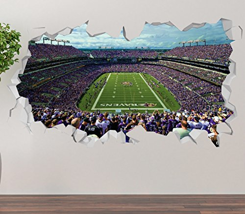 M&T Bank Stadium Baltimore Ravens Wall Decal Smashed 3D Sticker Vinyl Decor Mural NFL - Broken Wall - 3D Designs - OP355 (Small (Wide 22