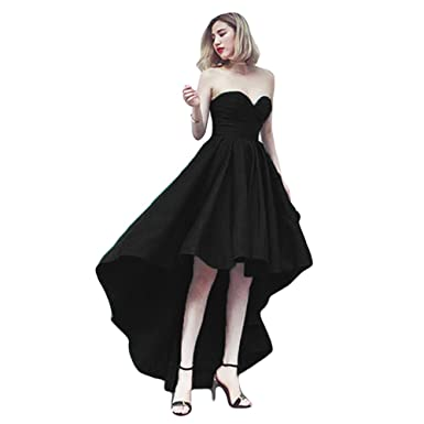Dreagel Womens Sweetheart Prom Homecoming Dresses Hi Low Satin