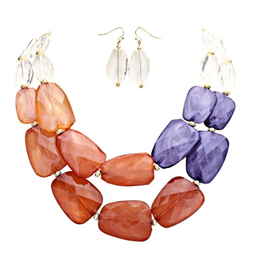 Brown Contemporary Dance Costume (Rosemarie Collections Women's Ombre Polished Resin Statement Necklace Earring Set (Brown and Grey))