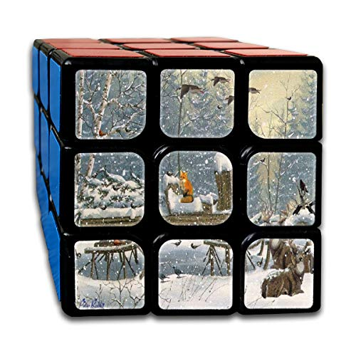 Rubiks Cube Winter Woods Deer Tree Christmas Fox Cardinal Animal Designer Speed Cube 3x3 Smooth Magic Square Puzzle Game Black ()