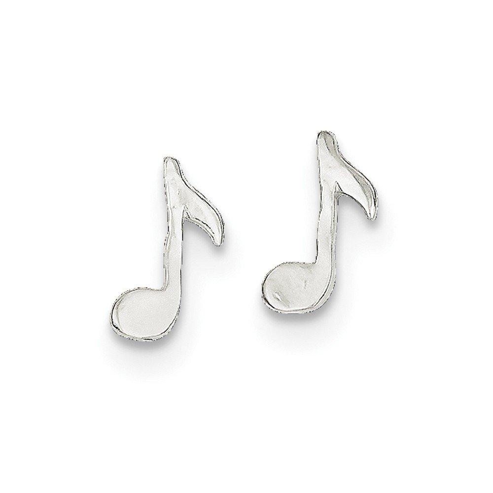 Sterling Silver Musical Note Mini Earrings JewelryWeb Measures 1//4 Inch