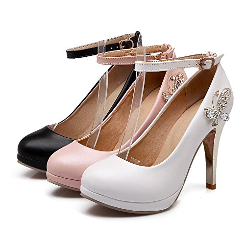 AIWEIYi High White Womens Platform Pumps Ladies Round Strap toe Buckle Metal Charming Heels Shoes OO0rwq