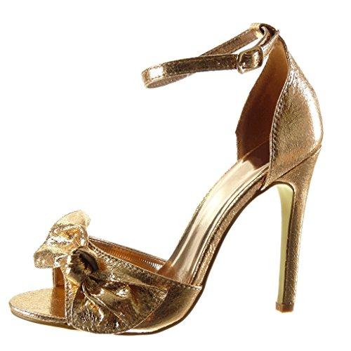 3c7a2948fdbde Angkorly - damen Schuhe Sandalen Pumpe - Sexy - Stiletto - fliege -  glänzende - String