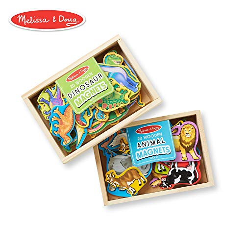 Melissa & Doug Wooden Magnets Set - Animals and Dinosaurs With 40 Wooden Magnets