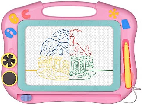 Magnetic Drawing Board Erasable for Kids - Colorful Magna Doodle Toys - Gifts for Toddlers Girls Writing Sketching Pad - Gift Toy Birthday Present for 1 2 3 4 Year Old Girl - Travel Size