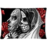 Bedroom Decor Day of the Dead sugar skull Cool Background Pillowcase Zippered Two Sides Design Printed 20x30 pillows Throw Pillow Cover Cushion Case Covers
