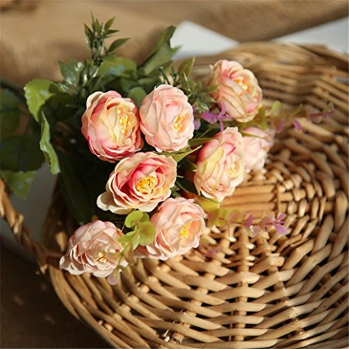Bud Spray Tulip (Inverlee 1Pcs 10 Heads Artificial Flowers PE Rose Floral Fake Flowers Wedding Bridal Bouquet DIY Home Garden Decor (Pink))