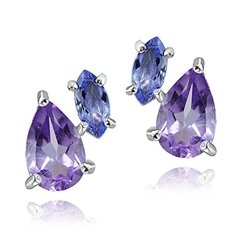 Sterling Silver 1.65ct Amethyst and Tanzanite Two Stone Friendship Stud Earrings