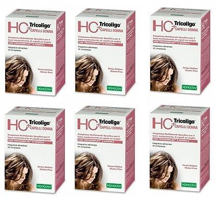 Specchiasol – HC + tricoligo Mujer 6 paquetes de 40 Pastillas Prevención Caída Cabello, antisalpicaduras