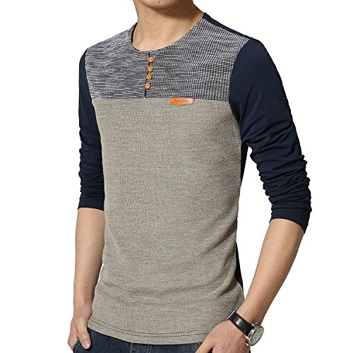 8sanlione Mens Casual Slim Fit Short-Sleeve/Long Sleeve Contrast Color T-Shirt