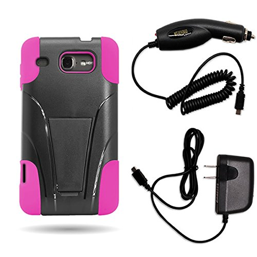 For [ Alcatel OneTouch Sonic LTE / A851L ] Impact Dual Layer Armor Case With Horizontal Stand with Home Car Charger Black Hard Hot Pink Soft Silicone