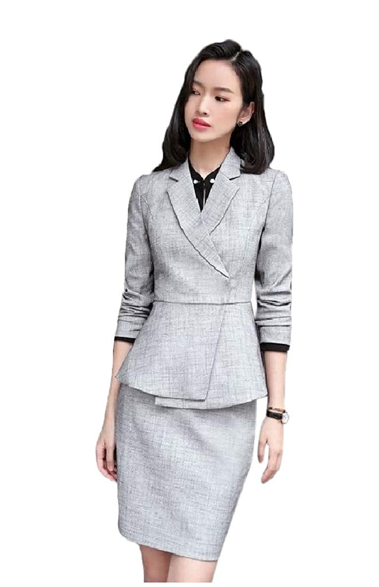 1 Vska Women Work Office Pants Skirts Buttonless Blazer 2 Pieces Suit