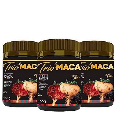 Trio de Maca Peruana (Preta, Vermelha e Amarela) Color Andina Food, 3 potes de 100g