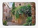 Ambesonne Landscape Bath Mat, Summer Garden Flowers Marigold Stones Antique Ancient House in Spain Art Print, Plush Bathroom Decor Mat with Non Slip Backing, 29.5 W X 17.5 W Inches, Multicolor