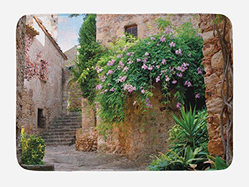 Ambesonne Landscape Bath Mat, Summer Garden Flowers Marigold Stones Antique Ancient House in Spain Art Print, Plush Bathroom Decor Mat with Non Slip Backing, 29.5 W X 17.5 W Inches, Multicolor by Ambesonne