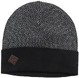 Cole Haan Men's Fine Gauge Pattern Jacquard Knit Cuff Hat, Black/Heather Grey, One Size