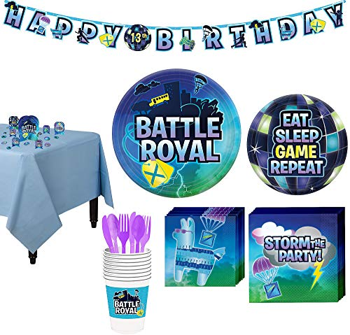 Party City Battle Royal Tableware Supplies for 8 Guests, with Table Cover, Decorations and More ()