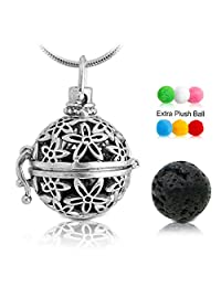 "Lava Stone Aromatherapy Essential Oil Diffuser Necklace Pendant/Locket Antique Silver with 24"" Snake Chain and 6 Cashmere Sustained Release Ball"