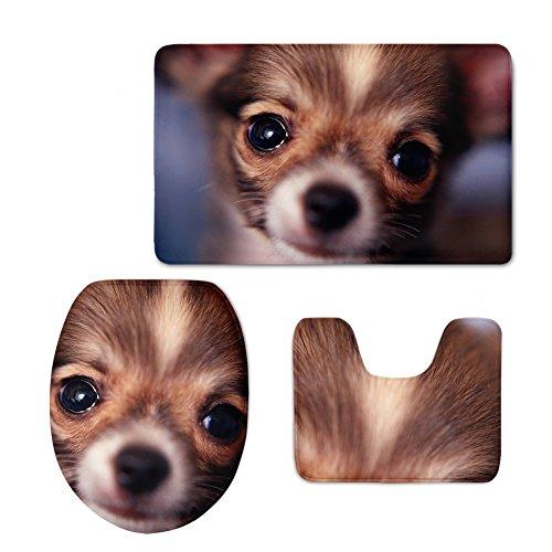 FOR U DESIGNS Funny Pugs Designer Nonslip Back Bathroom Mats Set Novelty Animals Washroom Inside Carpet Contour WC Lid Cover 3 Pce/Set by FOR U DESIGNS