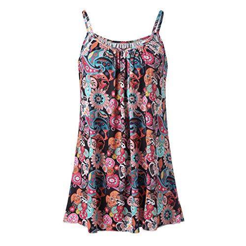 - Tanhangguan Women Boho Floral Print Summer Spaghetti Strap Vest Top Sleeveless Tshirt Blouse Casual Cami Tank Tops ...