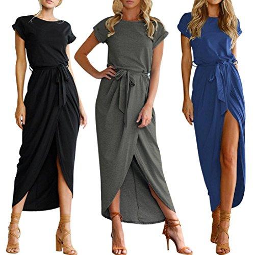 Upxiang Frauen Boho Maxi Kleid Abendgesellschaft Kurzarm vorne Split Kurzarm Slim Dress Strand Kleider Sommerkleid Blau VMG0I