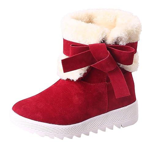 Damen Schneestiefel Mumuj Sale Fashion Flock Flach Stiefeletten Mädchen  Bowknot billige Winter Warme Stiefel Starke Absatzschuhe bd604709e5