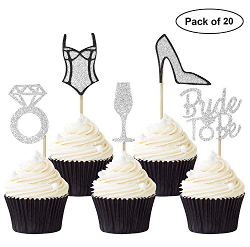 20PCS Bride to Be Cupcake Toppers Bridal Shower