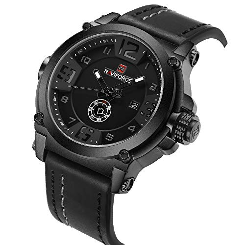 Men Watches Sport Mens 3D Face Quartz Leather Watch Man Waterproof Clock Date Display Wristwatch + Box