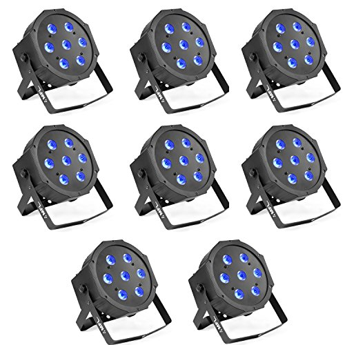 Par Lights, MFL. 7X10W RGBW Stage DJ Lighting LED DMX Par Can Light Party Lights DJ Disco Lights Wash Effect Sound Activated Modes for Party Wedding Church 8pcs by MFL.