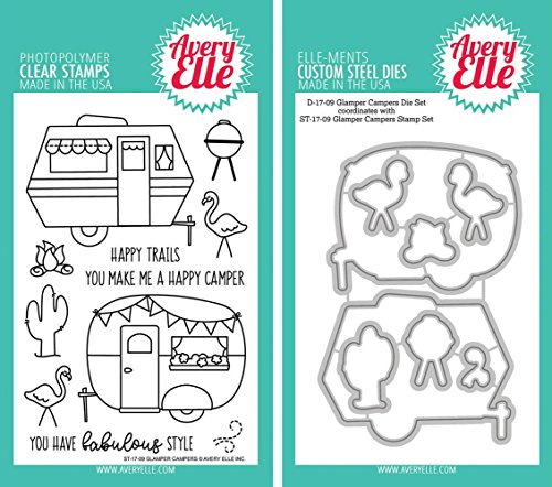 - Avery Elle - Glamper Campers Clear Stamps and Dies Set - 2 item bundle