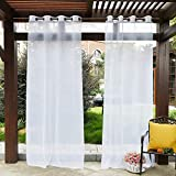 PONY DANCE Outdoor Sheer Curtains - Patio Voile Panel Indoor/Outdoor Water Resistant Grommet Top Waterproof Curtain with Ropes for Gazebo, 54' W x 84' L, White, 1 Panel